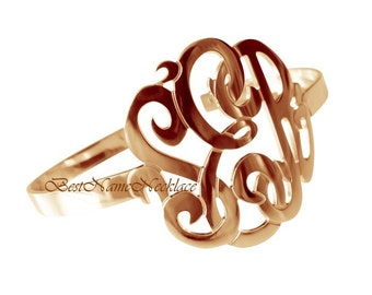 "1 1/2""  tall Monogram bracelet bangle, 14k ROSE Gold Plated over sterling silver, your monogrammed initials"