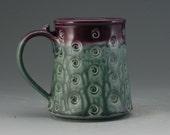 Pottery Mug Teal Purple Porcelain by Mark Hudak