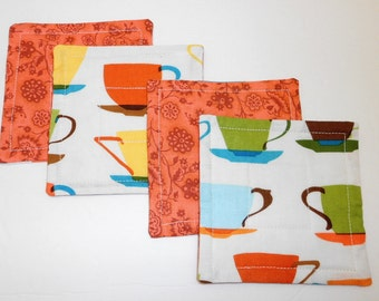 Quilted Coasters Reversible Coffee Cups Fabrics Mug Rugs  by SEW FUN QUILTS