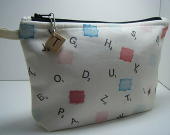 Black Hand Stamped Scrabble Tile Cosmetic Travel Makeup Bag