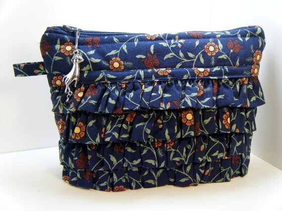 Navy Blue Ruffled Hand Zipper Pull  Cosmetic Travel Makeup Bag
