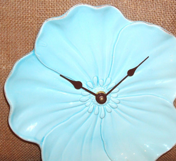 Wall Clock -  Aqua Flower Ceramic Plate Wall Clock No. 923 (9 inches)