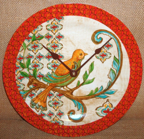 Wall Clock Exotic Bird Ceramic Plate Wall Clock No. 905 (10-3/4 inches)