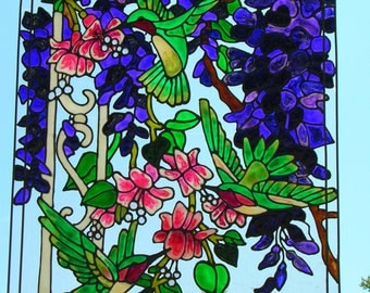 Three hummingbirds with tropical flowers stained glass window
