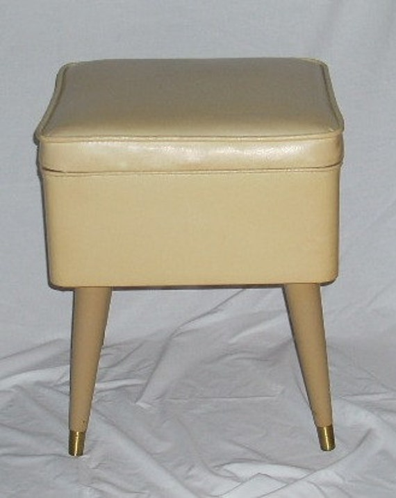 Mid Century Modern Sewing Storage Ottoman Bench Foot By