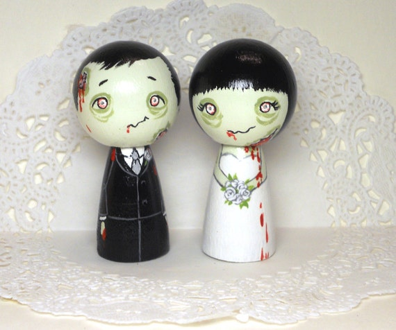 Black Haired Zombie Wedding Cake Toppers