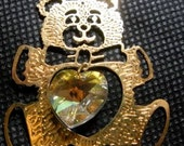 Vintage Christmas  Teddy Bear Ornament -  Sun Catcher 24 karat gold plated brass- with Swarovski Crystal