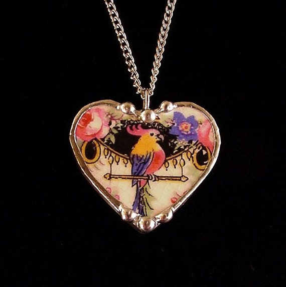 Broken china jewelry heart pendant necklace antique Art Deco parrot colorful china