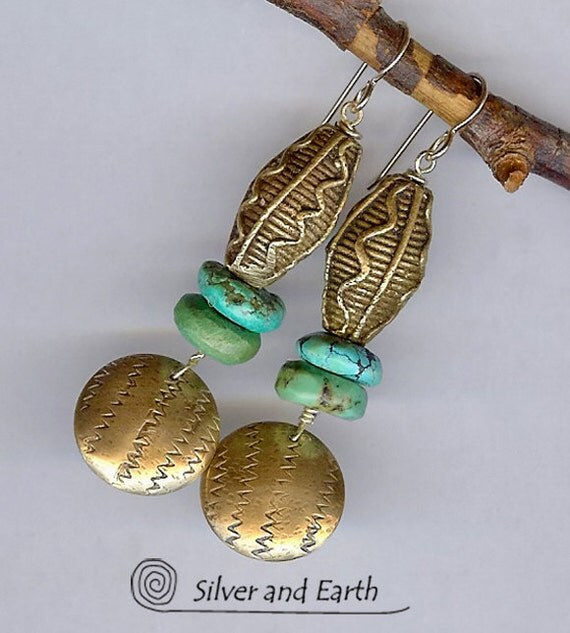 Tribal Earrings w- Antique African Brass Beads, Turquoise, Hand Stamped Brass  - Earthy Bohemian Tribal Jewelry - Ethnic African Earrings
