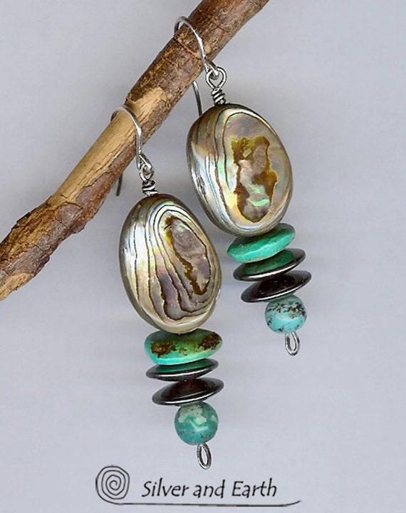 Abalone Earrings with Turquoise, Hematite & Sterling Silver, Dangle Earrings, Abalone Jewelry, Blue Turquoise Jewelry, Beadwork Earrings