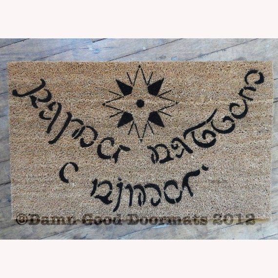 Elvish LOTR Hobbit Tolkien - Speak Friend and Enter- doormat small geek stuff