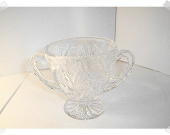 Clear Pressed Glass Dish w/Handles/ Home Decor*