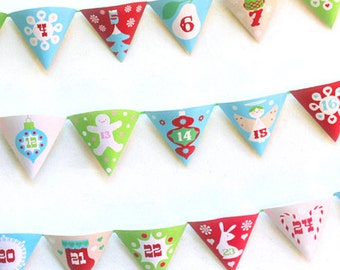 Printable Christmas Advent Calendar garland . Fun DIY 'pocket' calendar to print & make. Count down to Christmas with Happythought!