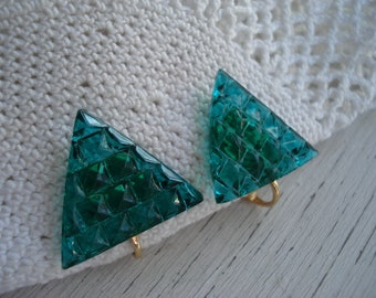 Art Deco Vintage Faceted Glass Triangle Cabochons Clip gold Earrings Green Trees