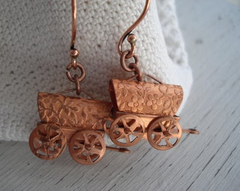 Vintage Antique Copper Covered Wagons Dangle Earrings Pioneer Old West