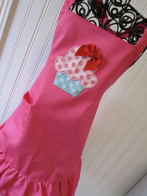 Kids Apron-  Hot Pink Ruffle