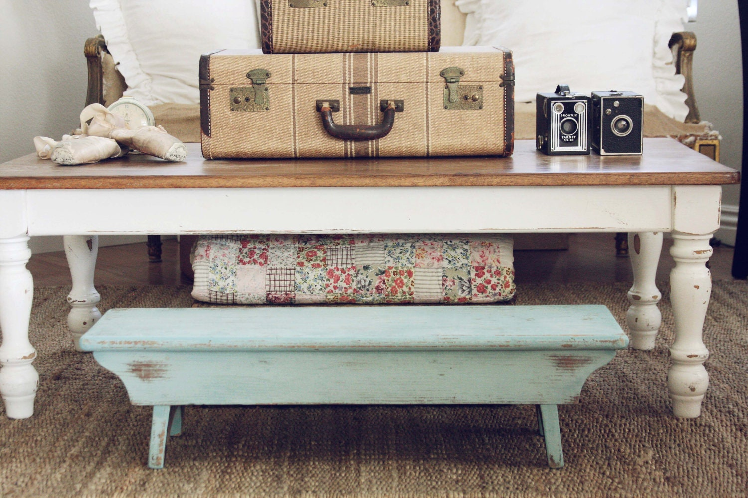 Vintage Hand Painted Wood Bench Turquoise Aqua Small By Blondiensc. Full resolution  snapshot, nominally Width 1500 Height 1000 pixels, snapshot with #8C5E3F.