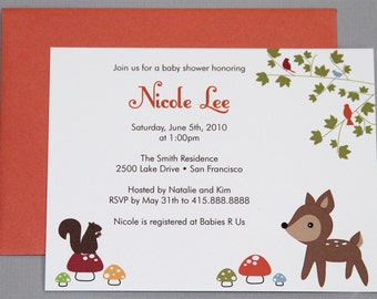 Woodland Animals A2 Flat Note Baby Shower Invitations (Choose your envelope color) (Set of 10)