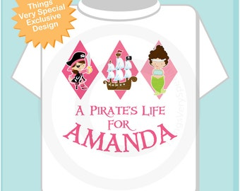 Girl Pirate Shirt, Personalized Pirate Shirt, A Pirates Life Shirt or Onesie with Your Child's Name (03252014a)