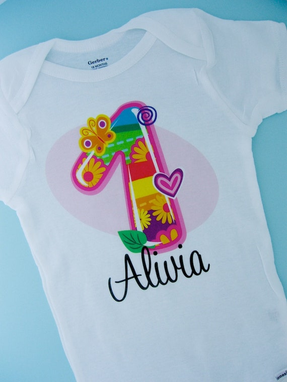 Multi Color First Birthday Onesie, Fancy Number 1st Birthday Shirt Personalized, One Year Old Name Tee or Infant Onesie for kids (05262012b)
