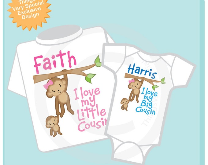 Set of Two I Love My Big Cousin and I Love My Little Cousin Monkey Girl and Boy Set of one tee and one onesie (08222012b)
