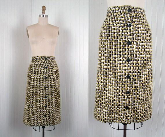 1950s Skirt - BUMBLYBEE 50s High Waist Woven Yellow Black White Wool Pencil Skirt XS S