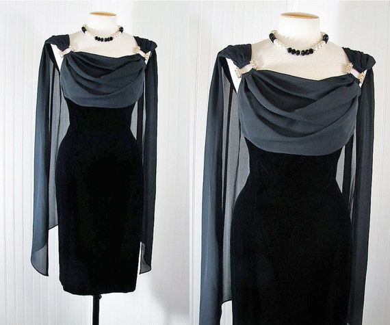 R E S E R V E D 1980s Dress - Vintage 80s Dress Rhinestone Bust Shelf Chiffon Holiday New Years Cocktail Party - Celebratory