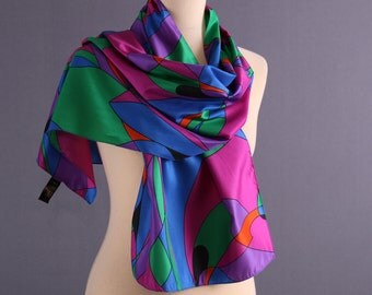 Vintage 80s Avant Garde Scarf / Abstract Print in Purple and Green