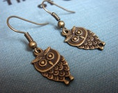 Adorable Owls Need A Home, Vintage Inspired, Tiny Bird - Earrings - Women's Woodland Jewelry by HoneyNest