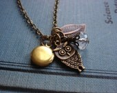Adorable Owl Necklace, Antiqued Brass Charms, Vintage Brass Locket, Gift for Girls, Jewelry by HoneyNest