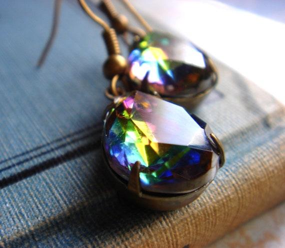 A Kiss In The Rain - Vintage Glass Jewels - Rainbow Iridescent Rhinestone Teardrops - Earrings