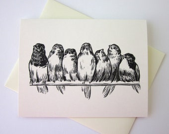 Birds on a Wire Note Card Set of 10 in White or Light Ivory with Matching Envelopes