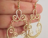 Matte Gold Wire Wrapped Earrings, Gold Earrings, Chandelier Earrings, Statement, Bold Earrings, Gift for Her, Gift under 35