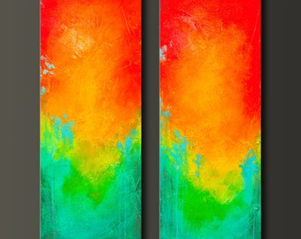 Looking Glass 2 - 12 x 36 - Set - Original Abstract Acrylic Modern Painting - Diptych - Contemporary Wall Art - Fine Art