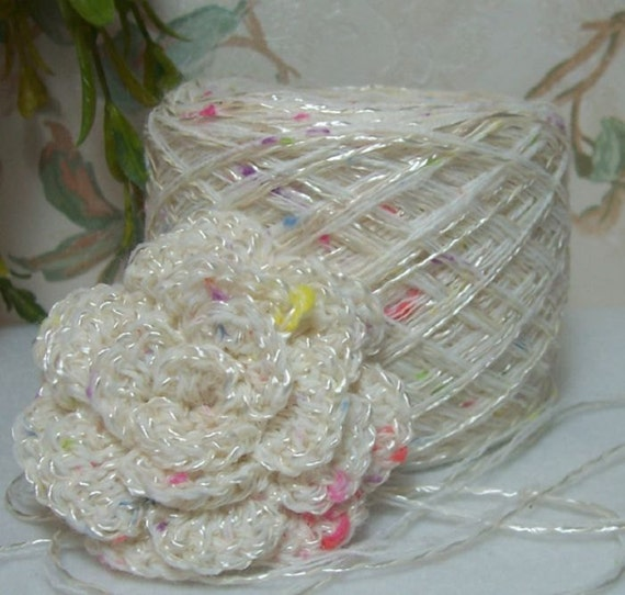 Yarn Sweet Confetti Dainty Designer Yarn Soft Shimmery White with Tiny Dots of Color YOMD Bin 5