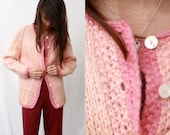 1940s Mohair Wool Pink Cardigan - Marshall Field - Handmade Italy - XS or Small