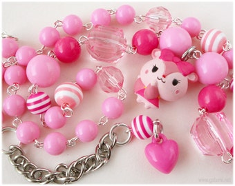 Pink Squirrel Necklace, Beaded Bubblegum Pink and Fuschia Chain with Character Pendant - Sweet Lolita, Oshare Kei