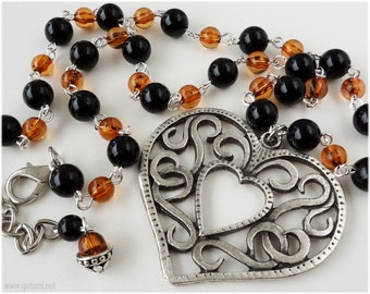 Ornate Heart Necklace, Beaded Chain, Oversized Pendant, Silver - Gothic Lolita