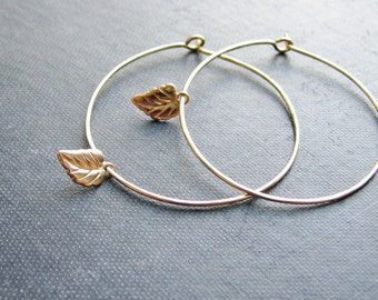 Goldfilled Leaf Earrings Small Leaf Gold Filled Wire Sleeper Hoops Minimalist Modern Fresh Nature Inspired Botanical Jewelry