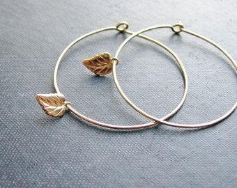 Goldfilled Leaf Earrings Small Leaf Gold Filled Wire Sleeper Hoops Minimalist Modern Fresh Nature Inspired Botanical Jewelry