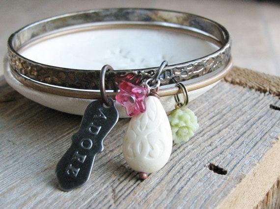 Charm Bracelets Flower Bangles Upcycled Vintage Bracelets Bead Botanical Jewelry Garden Inspired