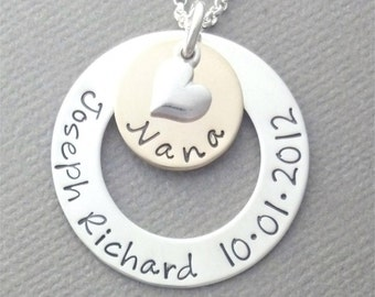 Nana Necklace, Personalized Jewelry, Hand Stamped, Sterling Silver and 14kt Gold Filled