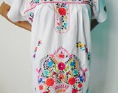 Mexican White Mini Dress Colorful Flowers Embroidered Handmade Elegant Large