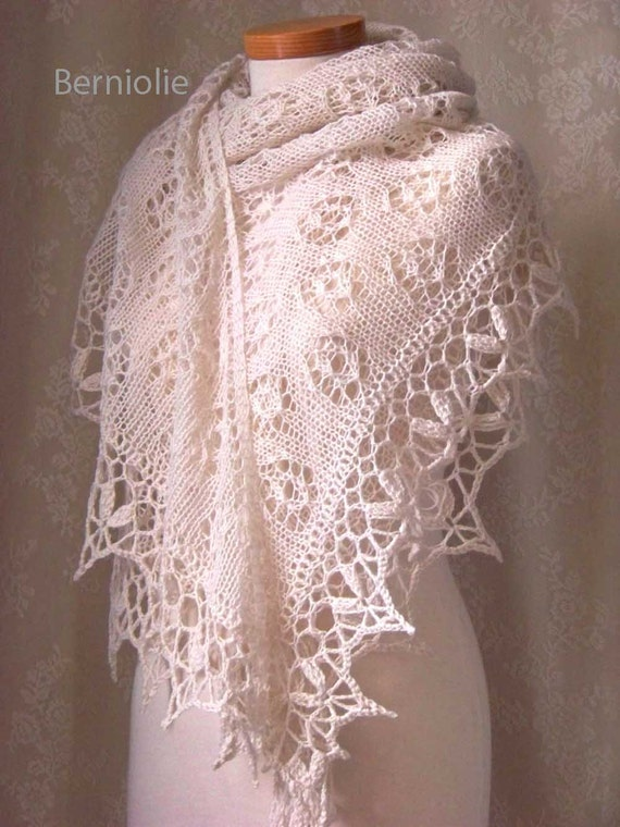 ROSA Knitting/crochet shawl pattern PDF by BernioliesDesigns