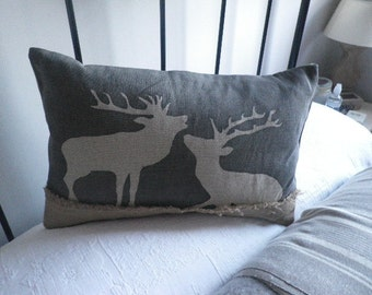 hand printed loomstate linen grey stags cushion cover