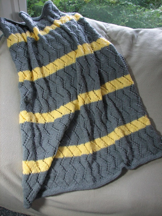Large Grey and Yellow Knitted Afghan Sale Was 75