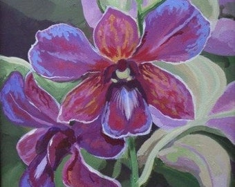 Orchid Note Card, Purple, Lilac, Fucsia Note Card printed from my original Painting