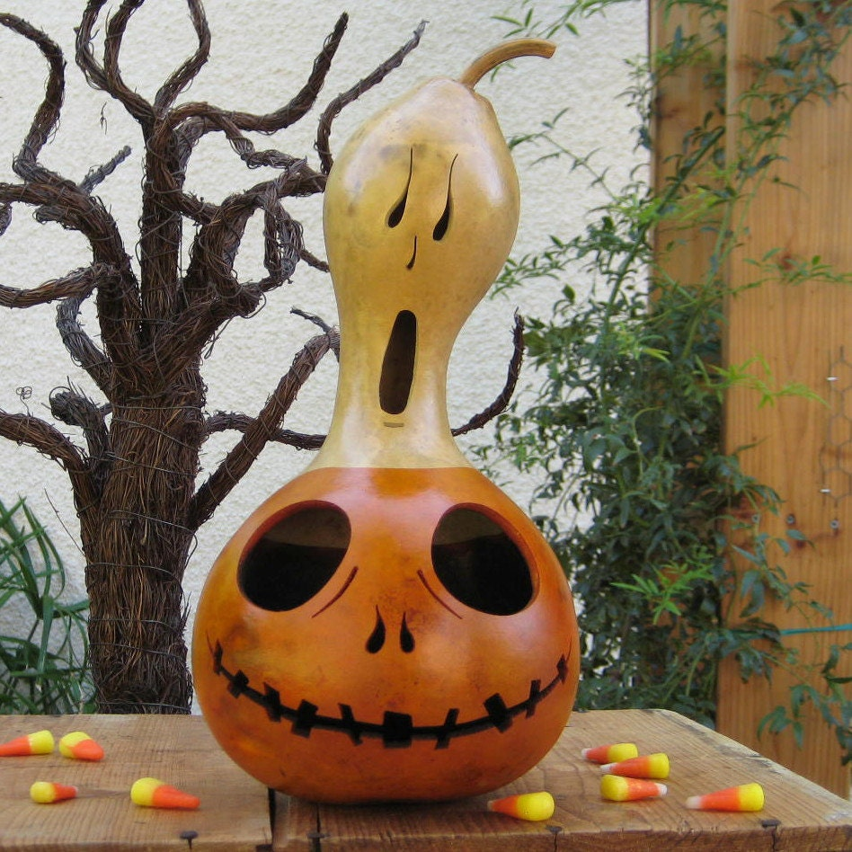Natural Halloween Decorations: Halloween Gourd Jack O Lantern Ghost Top Natural Spooky