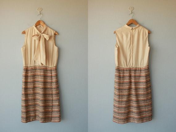 1960s dress / 60s dress / 60s day dress / wool dress / bow neck dress - size xl , large