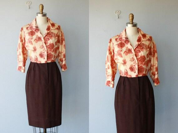 1950s dress / 50s floral sheath dress / 60s dress / shirtwaist dress / floral dress - size small
